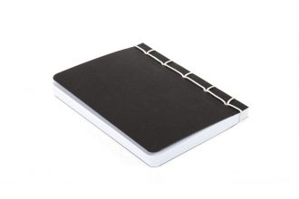 Notebook with hand-strung Japanese binding, black with white string